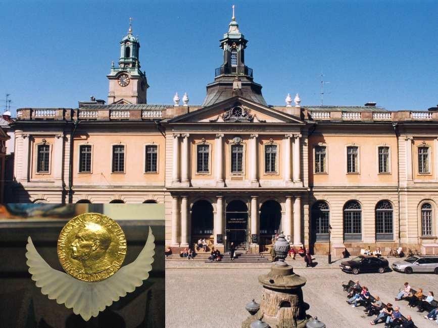 متحف جائزة نوبل في ستوكهولم، وفي الإطار ميدالية جائزة نوبل