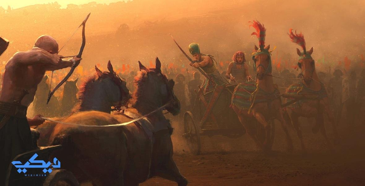 لوحة تخيلية لاول لحظات إشتباك الجيش المصرى والحيثى فى معركة قادش.