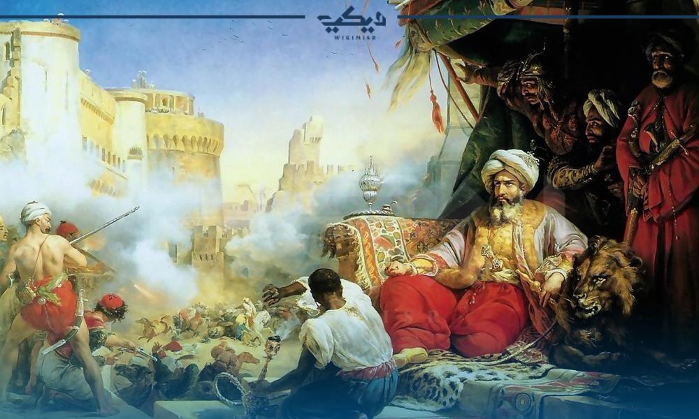 لوحة توضح محمد علي أثناء أحداث مذبحة القلعة