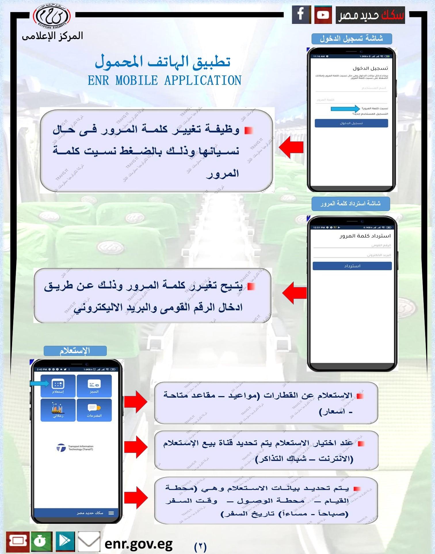 الخدمات التي يقدمها تطبيق قطارات مصر لـ حجز التذاكر
