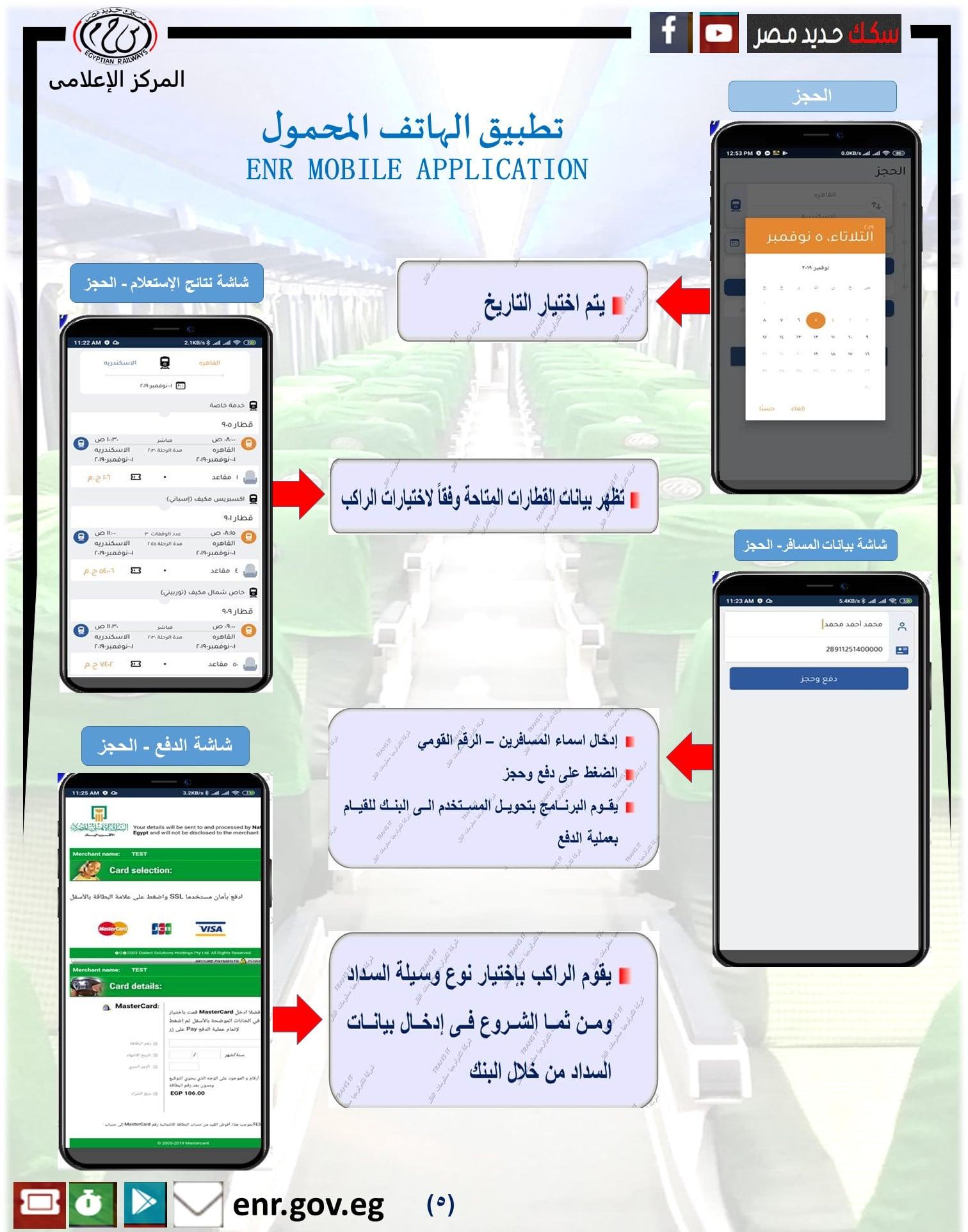 خطوات حجز وسداد تذكرة قطار في سكك حديد مصر