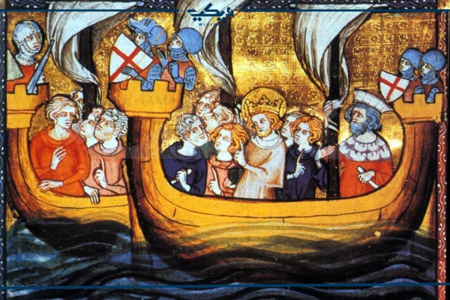 لوحة تمثل أسطول الحملة الصليبية السابعة