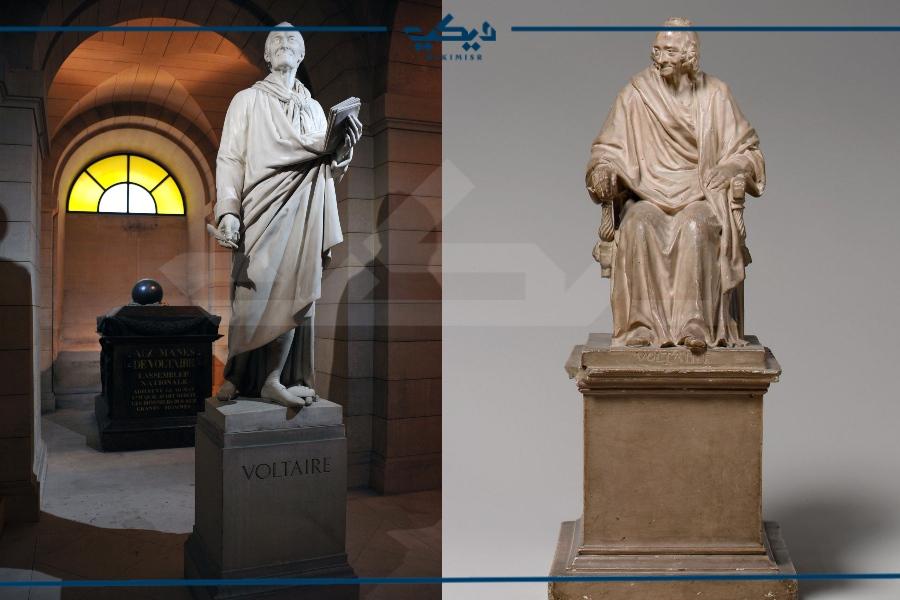 تمثالان لفولتير على اليمين واليسار