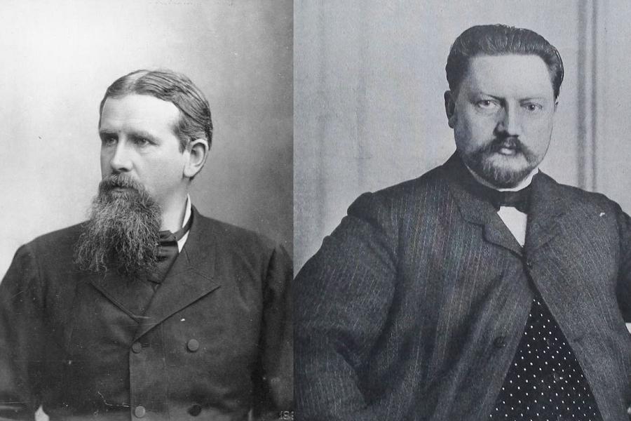 على اليمين السويسري كيلين أول من استخدم لفظة الجيوبولتيك وعلى اليسار راتزل من أوائل من نظّر للجغرافيا السياسية في العصر الحديث