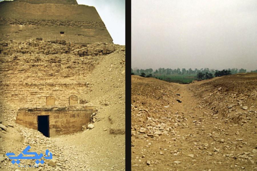 هرم ميدوم: على اليمين بقايا الطريق الصاعد، وعلى اليسار مدخل المعبد الجنائزى للملك سنفرو.
