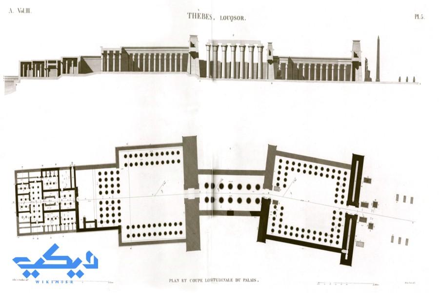 تخطيط معبد الأقصر من موسوعة وصف مصر.