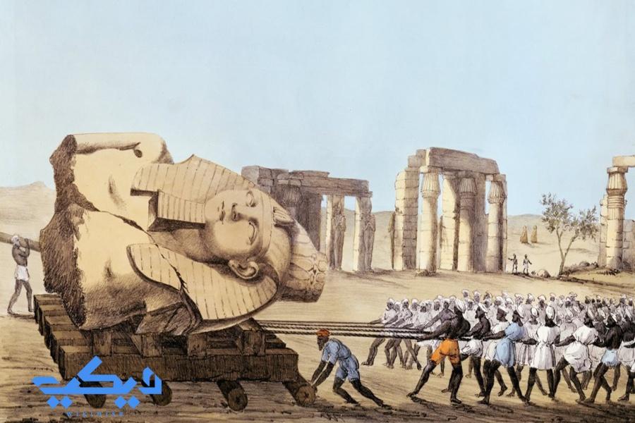 لوحة لسرقة ونثل تمثال رمسيس الثانى من معبد الرامسيوم.