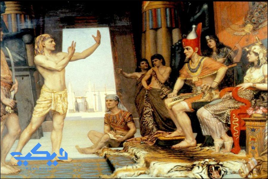 لوحة تخيلية لأحد الأمراء يحكى لأبيه خوفو أحد المعجزات.