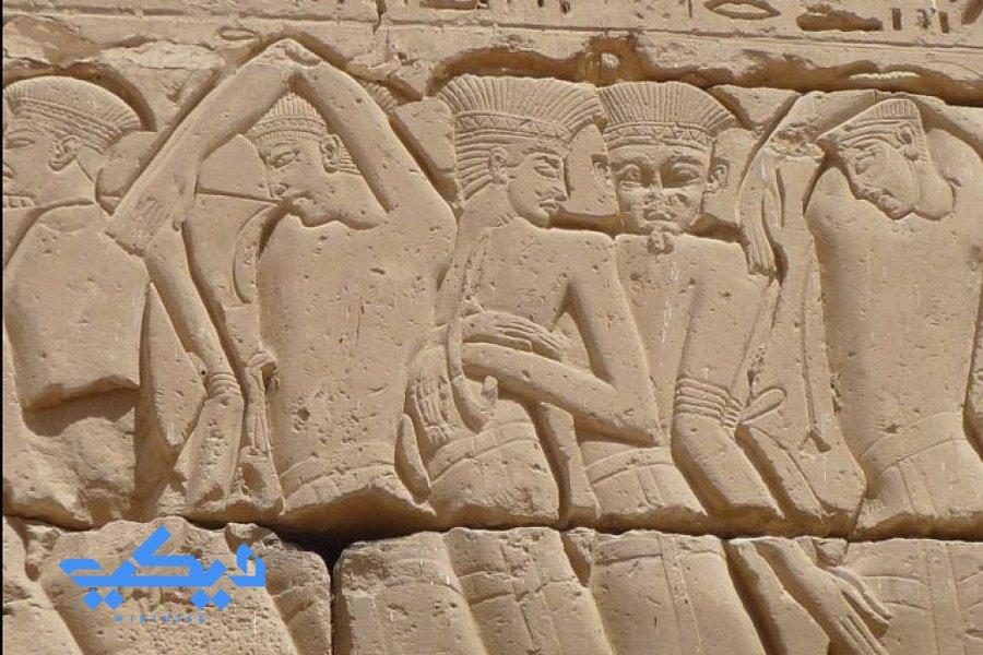 شعوب البحر كما تم تصويرهم على جدران معبد هابو.